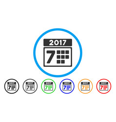 2017 year 7th day rounded icon vector