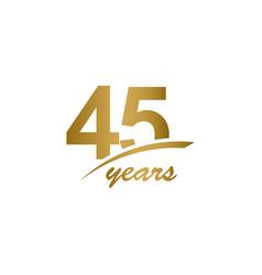 45 years anniversary elegant gold line vector