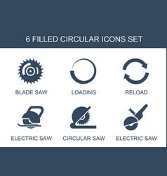 6 circular icons vector