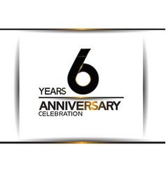 6 years anniversary black color simple design vector