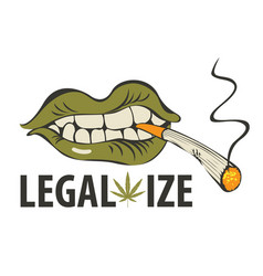 Banner for legalize marijuana with a smoking mouth vector