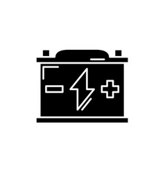 battery black icon sign on isolated vector image