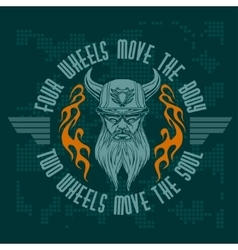 Bearded biker vintage bikers badge vector image