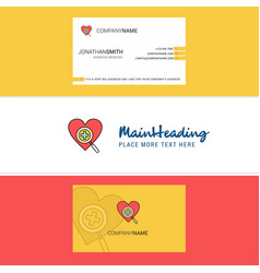 beautiful heart logo and business card vertical vector image