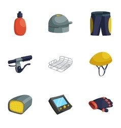 Biking accessories icons set cartoon style vector image