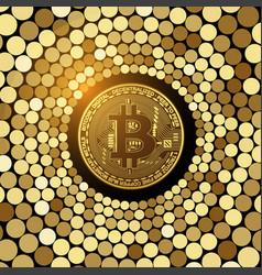 Bitcoin golden coin on glitter mosaic background vector
