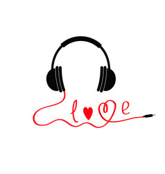 Black and red headphones love card music icon vector