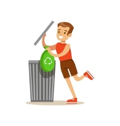 Boy throwing away recycling waste in bin bag vector