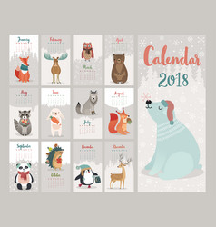Calendar 2018 cute monthly with forest vector