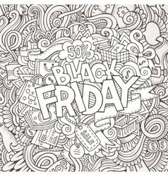 Cartoon cute doodles Black friday inscription vector