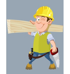 cartoon male worker in a helmet with a hacksaw vector image