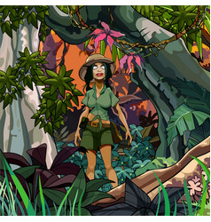 Cartoon woman traveler in a colorful jungle vector