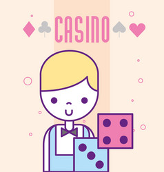Casino croupier character craps luck game cartoon vector