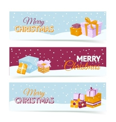 Christmas gift box banners vector