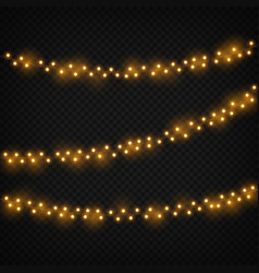 christmas lights xmas realistic glowing golden vector image
