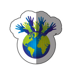 Color earth planet connection hands up vector