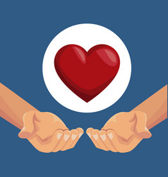 colorful poster closeup hands holding a heart in vector image