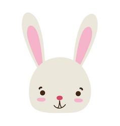 Colorful smile rabbit head wild animal vector