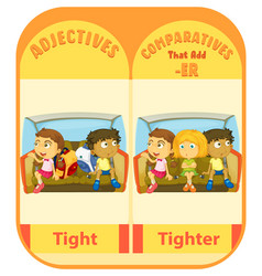 Comparative adjectives for word tight vector