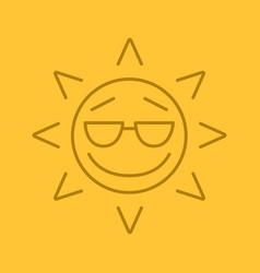 cool sun smile linear icon vector image