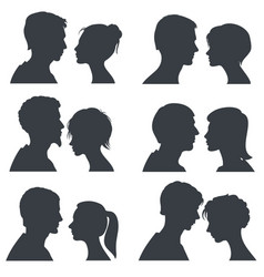 Couple faces young boy and girl head vector