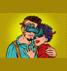 Couple in love with virtual reality glasses vector