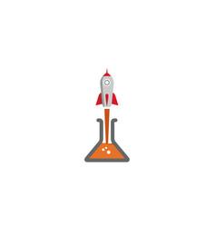 Creative gray rocket lab beaker logo vector