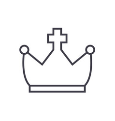 Crown with cross line icon sign vector