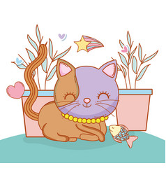 Cute cat animal with plants and fish vector