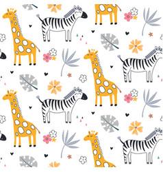 Cute seamless pattern with safari animals vector