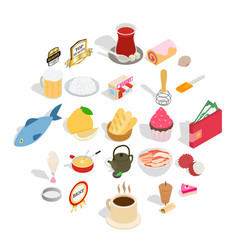 dishes icons set isometric style vector image