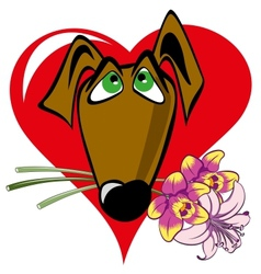 Dog with a bouquet vector