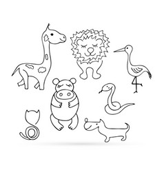 Doodle animal set icon isolated on white outline vector