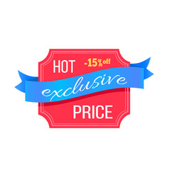 Exclusive hot price 15 percent off promotion card vector