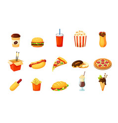 fast food nutritional set chinese pasta vector image