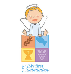 First communion card vector