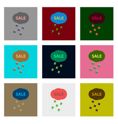 Flat assembly icons of sale gift rain vector