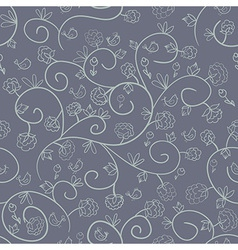 Flowers and birds Endless floral pattern vector
