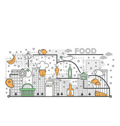 food concept flat line art vector image