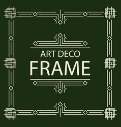 frame art deco line style square shape vector image