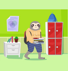Funny cartoon animal student a sloth schoolboy vector