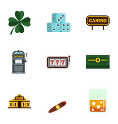 gambling icons set flat style vector image
