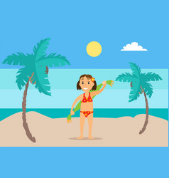 girl with towel on sand mountain landscape vector image