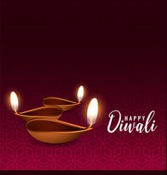 Glowing diwali festival diya background vector