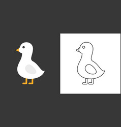 goose icon flat and outline vector image