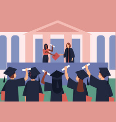 Graduates are awarded diplomas and scroll vector