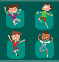 Happy children in different positions big vector