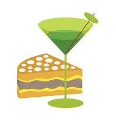 Icon in flat design for restaurant cocktail and vector