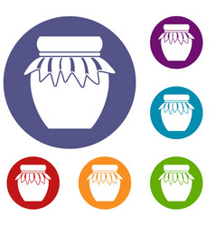 Jam in glass jar icons set vector