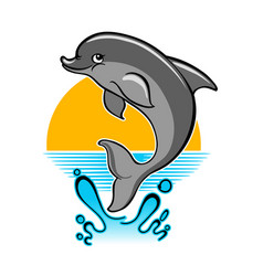jumping dolphin cartoon vector image